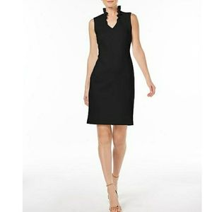 Calvin Klein Ruffle Neck Sheath Dress Black